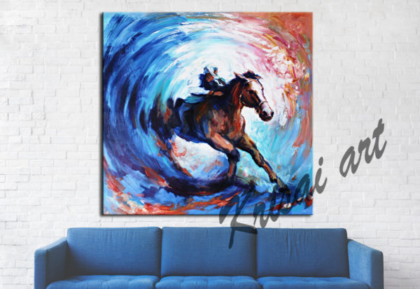 Rider Galloping the horse acrylic painting